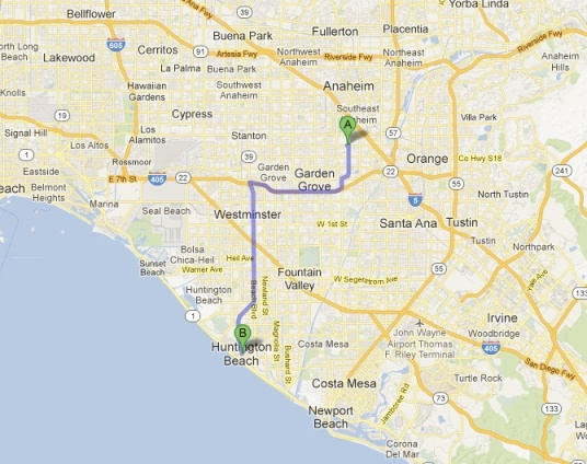 Map Huntington Beaches