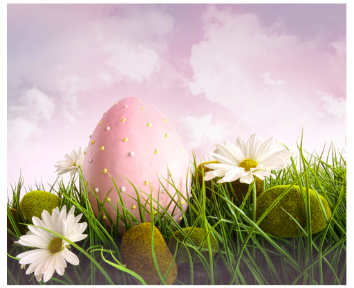 Fantasy image - Large pink Easter with flowers in tall grass with sky - All rights reserved 2014