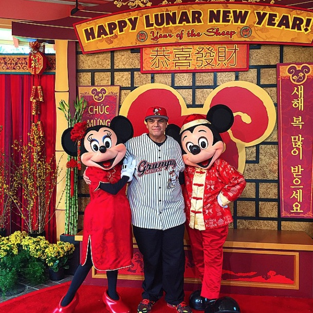 Darius Taghavi posing with Mickey and Minnie on Chinese New Year at Disney California Adventure on Feb 19 2015