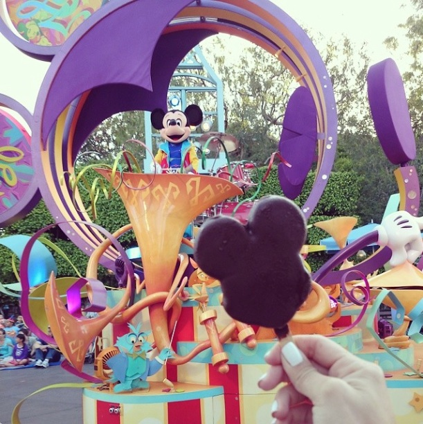 Disney Parade with Mickey dancing in the background on June 12 2014