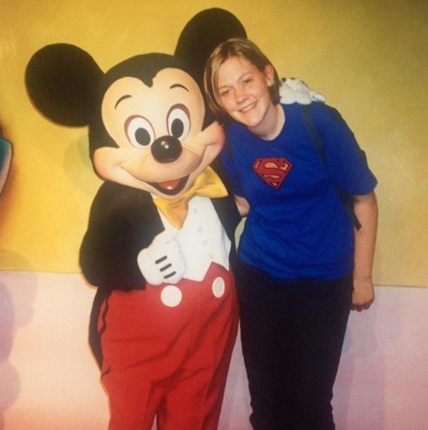 Jess Furseth Meeting Mickey in Disneyland California in 1999