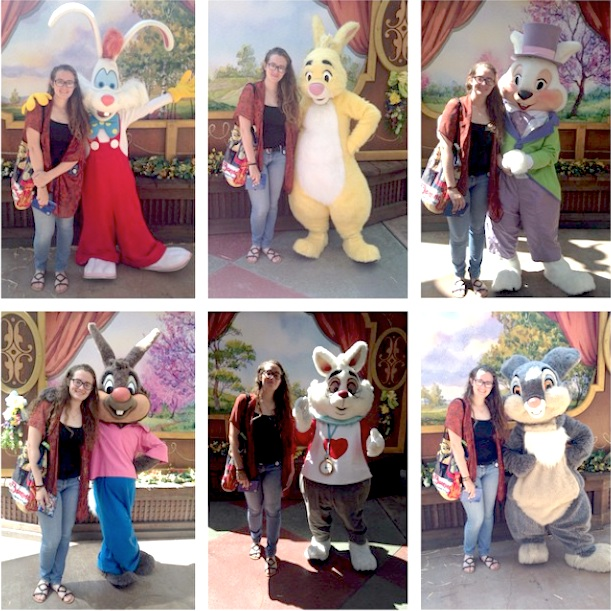 Young laddy taking pictures with 6 unique easter bunnys at Disneyland California in March 2015